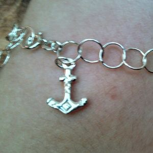 Jewelry - Navy Anchor sterling silver anklet NEW0ljonï
